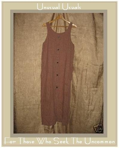 FLAX by Jeanne Engelhart Long Plaid LINEN Jump Dress SMALL S