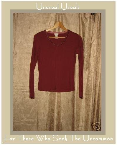 J. JILL Velvet Trim Cotton Knit Shirt Top X-Small XS