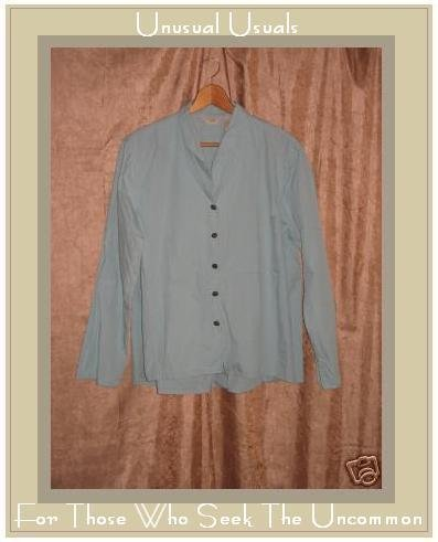 J. JILL Soft Blue Cotton Button Shirt Tunic Top Large L