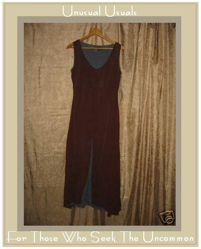 NEW ECOTE Fabulous Brown & Blue Layered Dress Small S