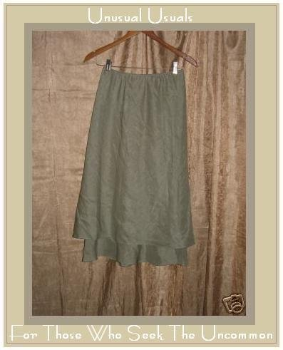 DAVID WARREN NEW YORK Flirty layered SILK & LINEN SKIRT SIZE 8