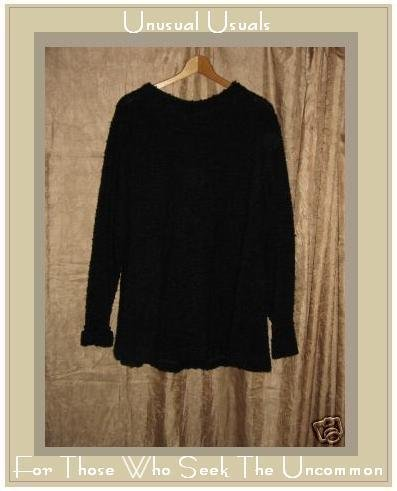 MONIKA TURTLE Black Nubby Knit SWING TUNIC SWEATER MEDIUM M