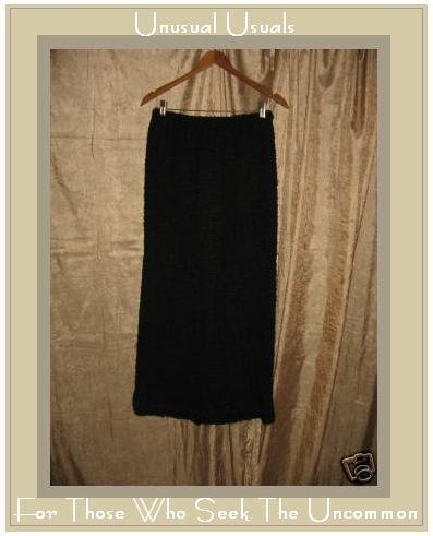 MONIKA TURTLE Long Black Nubby Sweater Knit SKIRT MEDIUM M