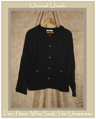 ALYWEAR Aly Wear Black LINEN Button Jacket Shirt Top
