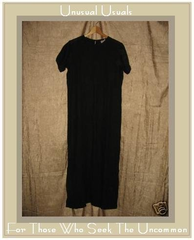 BOWMAN New York Long BLACK LINEN Pullover Dress Small S