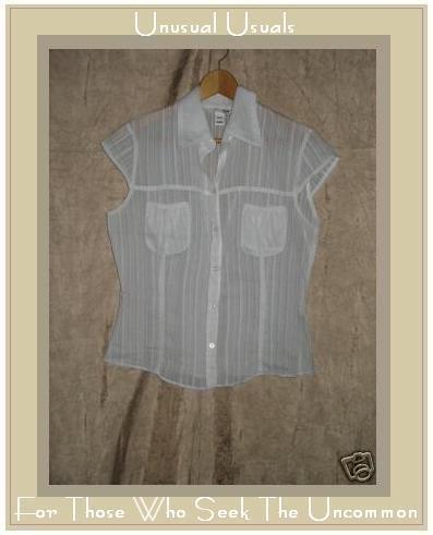 H&M Soft White Cotton Button Shirt Top EUR 40 US 10 Small S Medium M