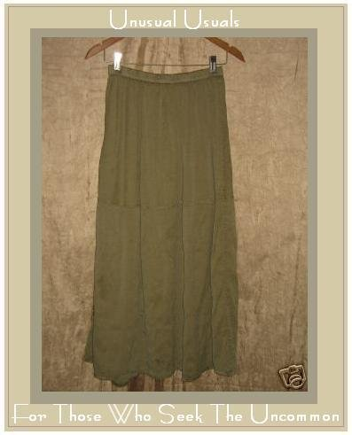 FLAX Jeanne Engelhart Long & Full SAGE SILK Skirt Small S