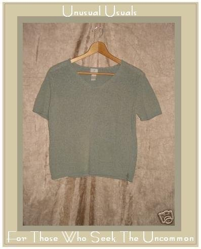 J. JILL Soft Green Silk Linen Sweater Knit Shirt Top Small S