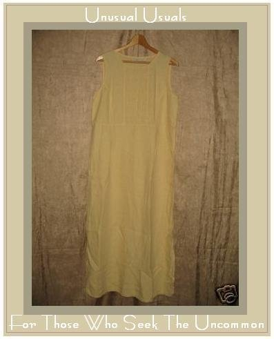 J. Jill Long Buttery Yellow LINEN Pin Tuck Dress Medium M