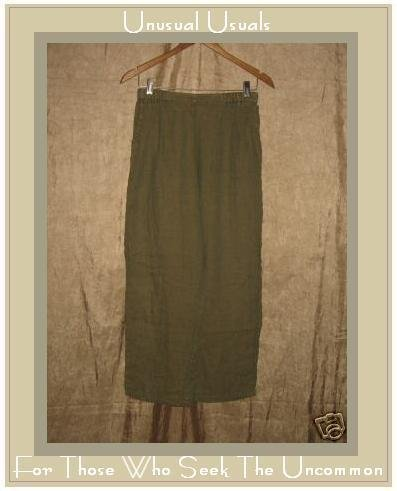 FLAX by Jeanne Engelhart Green & Tan LINEN Pants Small S