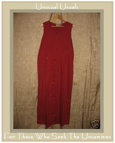 PUTUMAYO Boutique Long Red COTTON Button Dress Medium M