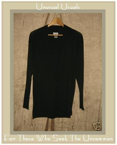 EILEEN FISHER Black Wool Open Cardigan Sweater Small S