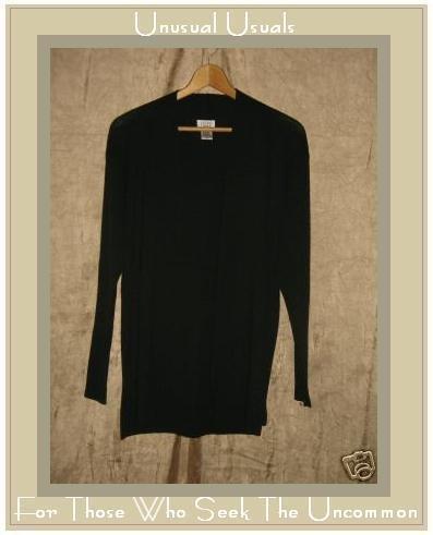 EILEEN FISHER Black Wool Open Cardigan Sweater Small S