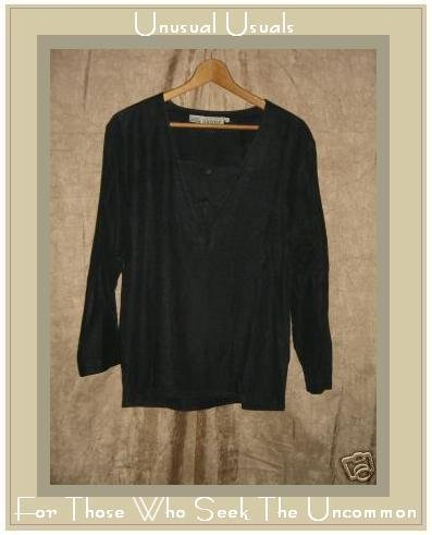 NUONS Black Silk Pullover Tunic Top Shirt Size 8 Small S Medium M