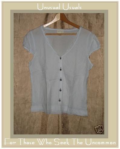 NEESH by DAR Soft Blue Cotton Ruffle Shirt Top Large L