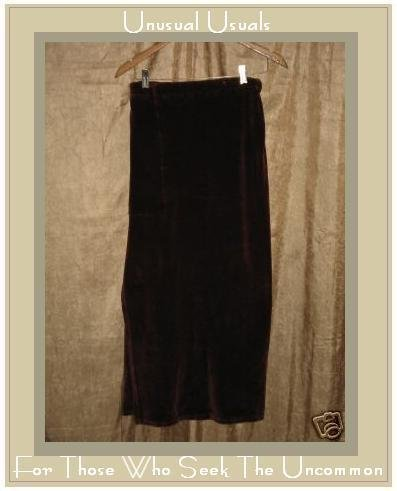 FLAX by Jeanne Engelhart Burgundy Cotton Velour Skirt Medium M