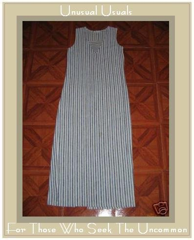 CLOTHESPIN COOL BLUE & WHITE STRIPED LONG DRESS SMALL S