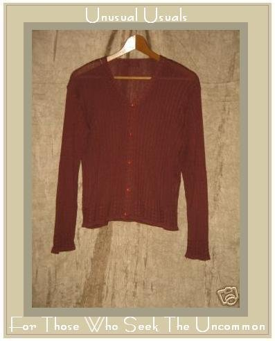 Gata Gabola Soft Brick Red Button Cardigan Sweater Small S Medium M