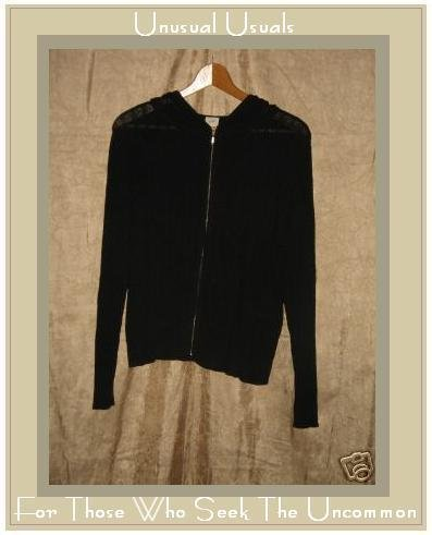 J. Jill Black Zip Cardigan Hoodie Sweater Jacket Large L