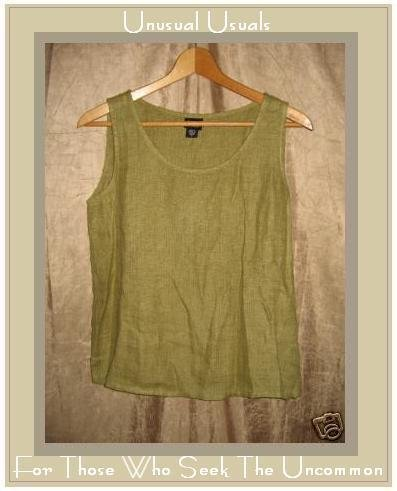 EILEEN FISHER Green LINEN Pullover Tank Shirt Top Shell Small S