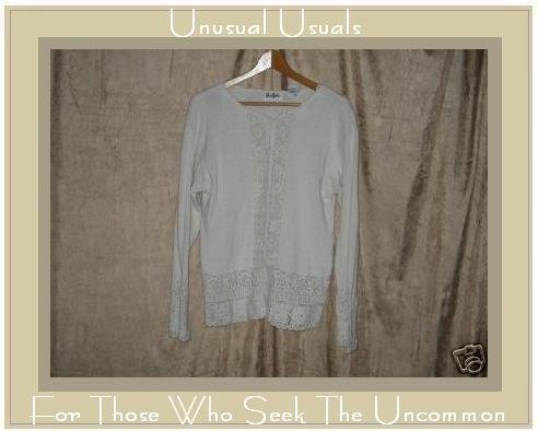 The Piper Cream Crochet Trim Button Cardigan Sweater Medium M