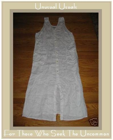 FLAX WHITE LINEN BUTTON DRESS BY JEANNE ENGELHART SMALL S
