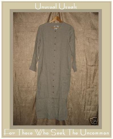 FLAX NATURAL LINEN BUTTON DRESS BY ENGELHART PETITE P