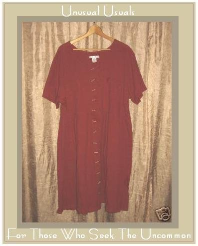 SILHOUETTES BERRY COTTON CRINKLE BABY DOLL DRESS 2X 2 X