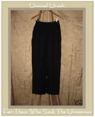 Flax by Jeanne Engelhart BLACK PANTS Linen Rayon Small S