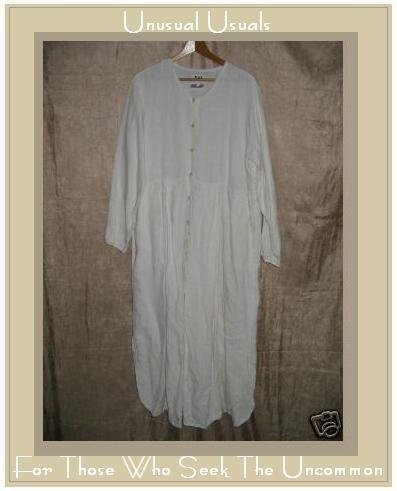 FLAX by Jeanne Engelhart White Box Pleat Button Dress Medium M
