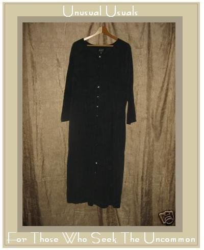 EILEEN FISHER Soft Black Silk Button Dress 2 Medium M