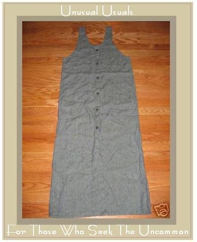 FLAX BLUE GRANITE BUTTON DRESS JEANNE ENGELHART PETITE P