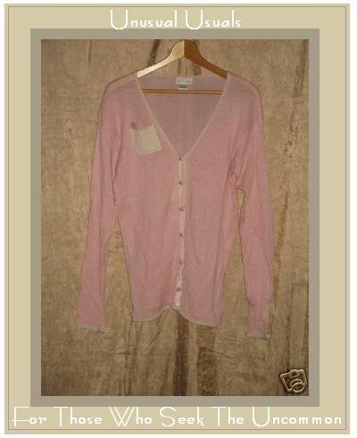 NEESH by DAR Pink & Cream Cardigan Pocket Tunic Sweater Large L