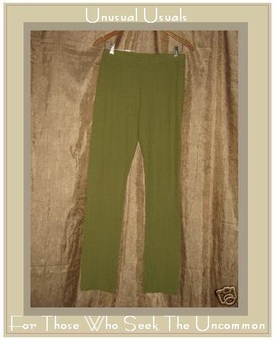 FLAX Leafy Green Pucker Textured Cotton Pants Medium M