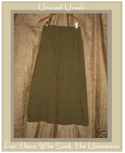 DAVID ALBOW New York Olive Drab Long Linen Skirt Medium