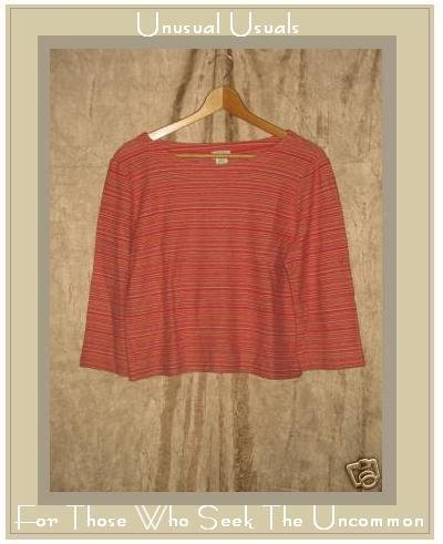 J. JILL softly textured striped stretchy pullover top Large L