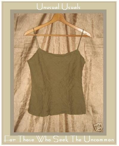 DAVID ALBOW New York Olive Drab Linen Bias Tank Shirt Medium M