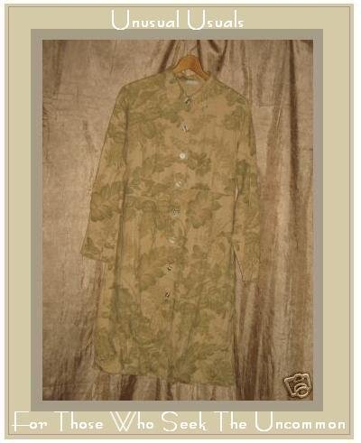 BOWMAN NY Long Shapely Linen Leaf Coat Jacket Top Medium Large M L