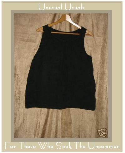 Nice Heavy Black Linen Tank Top Shirt Medium Large M L