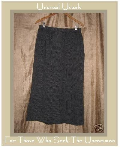 FLAX black & white striped LINEN skirt Jeanne Engelhart Medium M