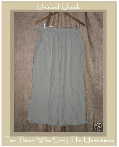 FLAX by Jeanne Engelhart Gray LINEN Floods Pants Large L