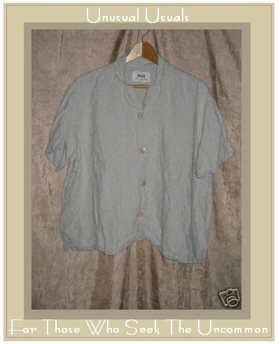 Flax by Jeanne Engelhart Gray LINEN Button Shirt Top Large L
