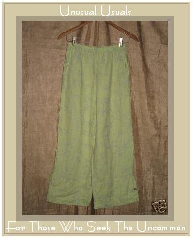 WILLOW Embroidered LINEN Button Cuff Floods Pants Small S