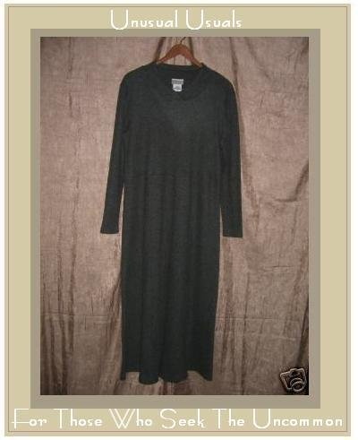 COLDWATER CREEK Long Soft Green Knit Shapely Dress Large L
