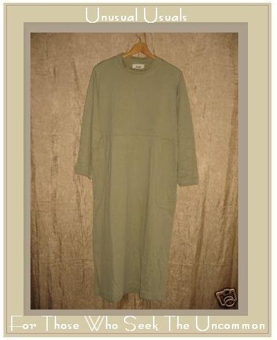 FLAX by Jeanne Engelhart Soft Gray Cozy Cotton Dress Small S