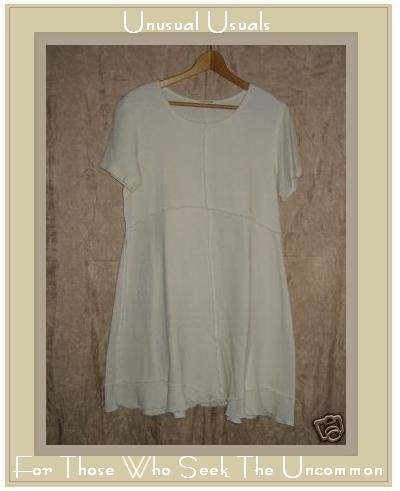 CLOTHESPIN Assymetrical Cream Cotton Tunic Dress Medium M