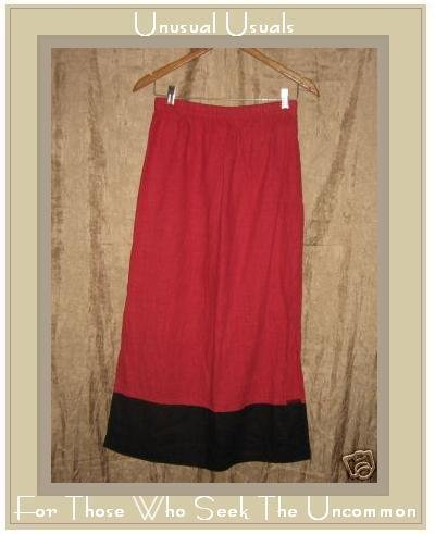 BOWMAN NEW YORK Long Red & Black LINEN SKIRT Medium M