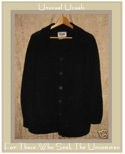 Flax by Angelheart Black Wool Sweater Jeanne Engelhart Small Medium S M