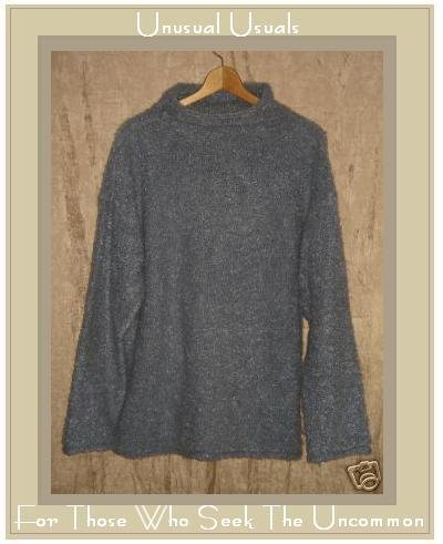 J. Jill Soft Nubby Blue Gray Turtleneck Tunic Sweater Medium M