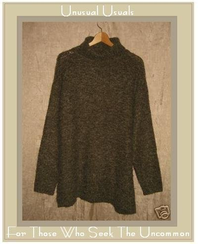M.J. Carroll Nubby Green Turtleneck Tunic Sweater Large L